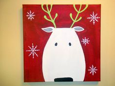 Christmas Reindeer 12x12 by peachesandpuddles on Etsy, $30.00