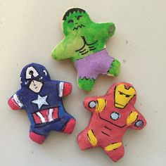 Craft activity with 3 year old boy - salt dough gingerbread men, baked & then painted as Avengers - Hulk Captain America Iron Man. Could do as Christmas ornaments!