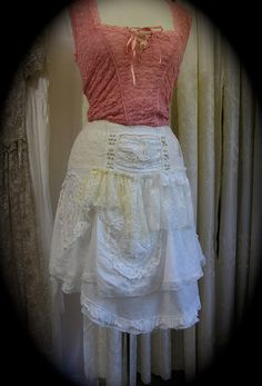 Shabby and Chic style skirt, lagenlook layered tattered white cotton by Dede of TatteredDelicates