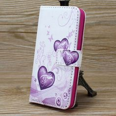 Deluxe Leather Magnetic Design Stand Wallet , Card Slot and Money Slot Hard Cover Flip Case For iPhone 5G 5S SE Flower Heart
