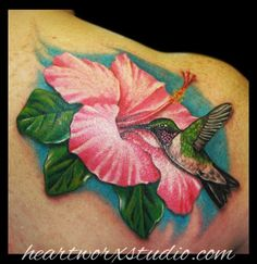 hibiscus, hummingbird and musical notes on shoulder - Google Search