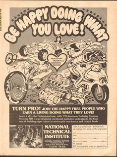 1974 Vintage Motorcycle Mechanics Training Ad - Be Happy Doing What You Love! Motorcycle Mechanic, Guitar Magazine, Vintage Guitars, Vintage Motorcycles, Best Dad, Vintage Ads, Training, Graphics, Happy
