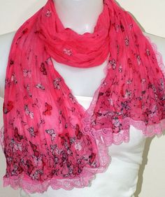 Butterfly Cotton Scarf Pink Lace Scarf  by MissSelinAccessories