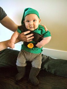 Baby Link costume.  Very adorable!  Wishing I had dressed one of my boys as Link but there is still time.