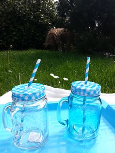 Piknik kékben A háttérben fitet Csücsök kutya Watering Can, Mason Jars, Canning, Mugs, Tableware, Dinnerware, Tumblers, Tablewares, Mason Jar