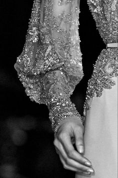 Elegant crystal embellished haute couture dress close up; sparkly fashion details // Elie Saab