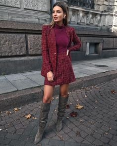 Winter Fashion For Work it's all about fashion 43 Office Outfits Highlight the Independent Side of Women suit, work outfits, office, handsome, work Tweed Outfit, Tweed Dress, Tweed Blazer, Suit Fashion, Work Fashion, Fashion Outfits, Classy Outfits, Casual Outfits, Dress Outfits