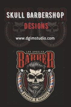 Colorful Skull Barber logo design for Barbershop. From 41 Vintage Barbershop Designs with editable texts and free fonts. Perfect for Barbershop logo designs, apparel and t-shirt designs, ready to be printed on any items and surfaces. Download Retro Barbershop designs on www.dgimstudio.com. #barbershop #skull #barber #logodesign #logo #vector #vectorillustration Barber Logo, Barber Shop, Vector Design, Logo Design, Barber Apron, Barbershop Design, Colorful Skulls, Salon Interior Design, Monochrome Fashion