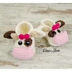 Doris the Cow Booties - Baby Sizes - Crochet Pattern by One and Two Company