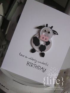 quilled+black+&+white+dairy+cow+card++have+by+APaperLifeOriginals,+$8.00