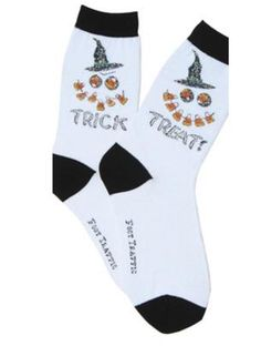 Brand new with tag Foot Traffic Brand LADIES PAIR OF Halloween Crew socks size With Jack o lantern face and Witches Hat, One sock says 'Trick' one says 'Treat' Nylon, Polyester Spandex Halloween Socks, Jack O Lantern Faces, Novelty Socks, Life Is Short, Crew Socks, Trick Or Treat, Pairs, Lady, How To Wear