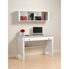 The Contemporary Computer Desk is perfect for your small office or dorm room. This desk's simple design includes a wide roll-out drawer that's ideal for storing pens, papers, other small items and even your laptop.