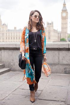 AMY2 kimono,  black top, black pants,  booties
