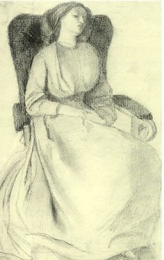 Elizabeth Siddal sitting by Rossetti