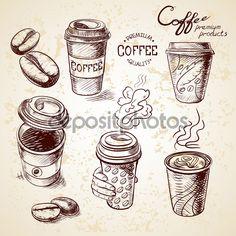 Фотообои Рука нарисованные каракули эскиз чашки старинные бумаги из меню на вынос кофе для ресторана, кафе, бара, кофейни