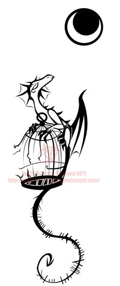 Tattoo design dragon+birdcage. I can't decide if he's a pensive dragon or just howling @ the moon :]
