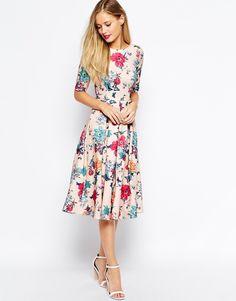 Image 4 ofCloset Scuba Midi Skater Dress In Floral Print