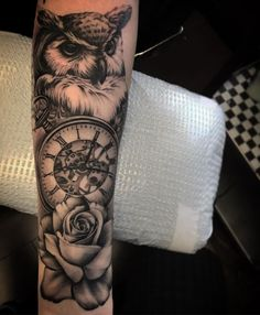 owl tattoo rose blackandgrey on Instagram