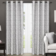 Exclusive Home Curtains Trike Geometric Thermal Window Curtain Panel Pair with Grommet Top Black Pearl 2 Piece Home Curtains, Grommet Curtains, Blackout Curtains, Window Curtains, Curtain Panels, Coastal Curtains, Window Panels, Thermal Curtains, Houses