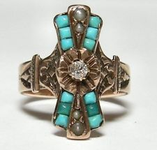 14K ROSE GOLD AUTHENTIC VICTORIAN DIAMOND TURQUOISE & SEED PEARL RING