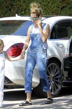 Ashley Tisdale wearing Krewe Du Optic St. Louis Sunglasses, Hundromi Henna Full Mandala Floral Dream Catcher Iphone Case and Paige Denim Sierra Overalls in Underwood