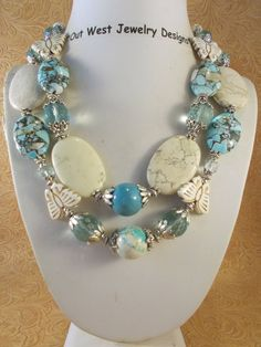 Chunky Cowgirl Necklace Set - White Buffalo Turquoise, Blue Mosaic Magnesite and Crystal