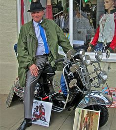 """An Original """"Mod"""" from the on his Vespa Scooter . Mod Scooter, Lambretta Scooter, Vespa Scooters, Fred Perry Polo, Tailor Made Suits, Teddy Boys, 4 Wheelers, Motor Scooters, Mod Fashion"""
