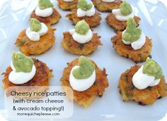 Cheesy Rice Patties topped with sour cream and guacamole