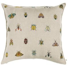 """Coral & Tusk's newest botanical pillow features an array of colorful insects, moths and beetles. Embroidered linen, 80% feather/20% down insert. 20 x 20"""""""