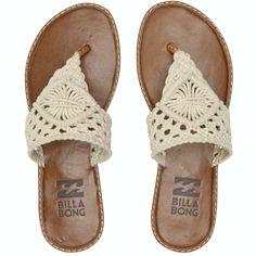 Billabong Women's Seascape Daze Sandal from Billabong. Shop more products from Billabong on Wanelo. T Strap Shoes, Strappy Shoes, Suede Shoes, Crochet Sandals, Crochet Shoes, Beach Shoes, Beach Sandals, Billabong Sandals, Socks And Sandals