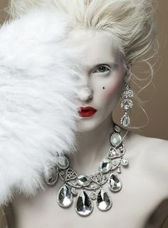 Snow Queen - pale face with white hair. Silver jewelry. (Sophia 2013)