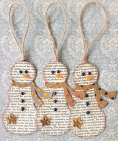 Book Page ornaments--no instructions, but should be easy to figure out-especially if rubber stamping.