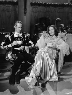 Norma Shearer and Leslie Howard on the set of Romeo and Juliet
