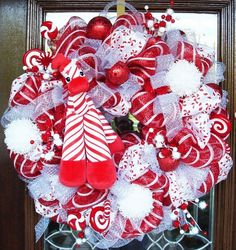 mesh Christmas wreath front door christmas decoration ideas red white colors
