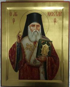 Άγιος Νεκτάριος Christos Sevastidis Orthodox Icons, Religious Art, Byzantine, Christmas Art, Christianity, Saints, Blessed, Painting, Jesus Christ