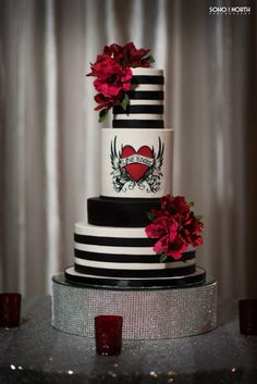 Bespoke The Wedding Event, Rockabilly/ Comtemporary Wedding, Wedding Cake Design, Wedding Sugar Flowers