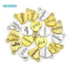 15pcs Antique Golden Plated Daughter  Mom Grandma Charms Pendants for Jewelry Making DIY Handmade Craft 18x15mm
