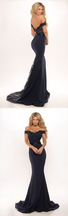 sexy mermaid long evening dress prom dress, off-the-shoulder black mermaid bridesmaid dress wedding party dress