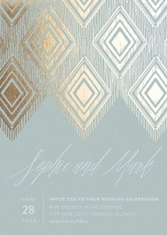 A golden touch to your serenity themed Minted wedding invitation will make your wow your guests.