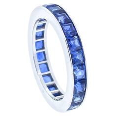 Cartier Vintage Square Cut Blue Sapphire Platinum Wedding Band | From a unique collection of vintage Band Rings at https://www.1stdibs.com/jewelry/rings/band-rings/.