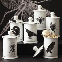 """Creating a creepy year-round house that doesn't feel """"Halloweeny"""", Home Decor, The porcelain Natural Curiosities Jars feature some ominous animals (say that three times fast) and since it& porcelain, they& last a long . Diy Halloween Home Decor, Goth Home Decor, Halloween House, Home Decor Trends, Halloween Decorations, Decor Ideas, Creepy Home Decor, Gypsy Decor, Gothic Halloween"""