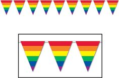 Rainbow Pennant Banner, great for decorating cars and floats for your city's Pride Parade!