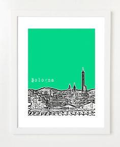 Bologna Italy Art Print - Bologna Poster - Europe Travel Art - Italian - 8x10. $20.00, via Etsy.