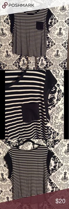 """🖤CALVIN KLEIN Striped Top🖤 CALVIN KLEIN Striped Top with sheer Sleeves & Pocket Length approximately 26"""", Bust approximately 50"""" Calvin Klein Tops"""