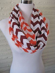 LONG Maroon and Orange Chevron Infinity Scarf by ChevronScarf