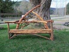 The Mountain Wooing Bench, Rustic Stickwork Love Seat. $950.00, via Etsy.