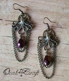 "Ooak☥Craft - 'Steampunkthuloide' earrings (wedding custom order) > Pendientes ""Steampunkthuloides"" (encargo de boda)"