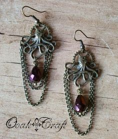 "Ooak☥Craft - 'Steampunkthuloide' earrings (wedding custom order) > Pendientes ""Steampunkthuloides"" (encargo de boda)"