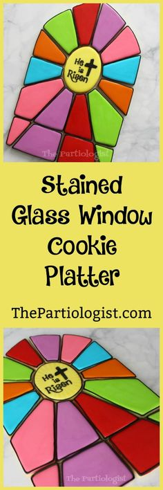 The Partiologist: Stained Glass Cookie Platter! Cross Cookies, Blue Cookies, Candy Cookies, Cut Out Cookies, Decorated Cookies, Sugar Cookies, Easter Cookie Recipes, Easter Cookies, Cookie Designs