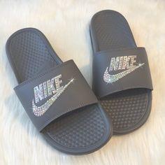 brand new 7dfaf 202dd Swarovski Nike Slides GREY Custom NIKE JDI Grey Slippers Sandals by  SparkleBoutique2U by SparkleBoutique2U on Etsy